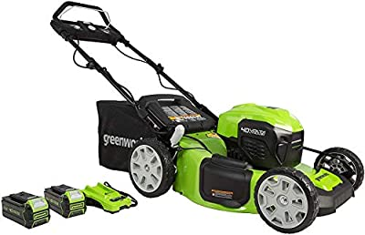 "Greenworks 40V 21"" Brushless (Smart Pace) Self-Propelled Lawn Mower, 2 x 4Ah USB Batteries and Charger Included MO40L4413"