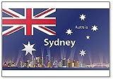Kühlschrankmagnet, Motiv Sydney City Skyline mit Australien-Flagge