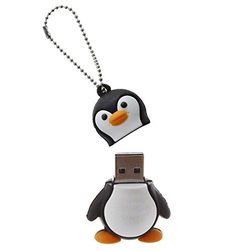 bobotron Chiavetta USB 2.0, 32 GB, con pinguino, colore: bianco e nero