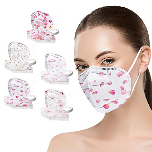 NIMIZIA 50 Stück Erwachsene_5 Lagige Schutz_Maske,5 Lagige Mund und Nasenschutz,Bunt Blume Druck Staubdicht Mund-Nasen Bedeckung Atmungsaktiv Mundschutz für Damen Herren