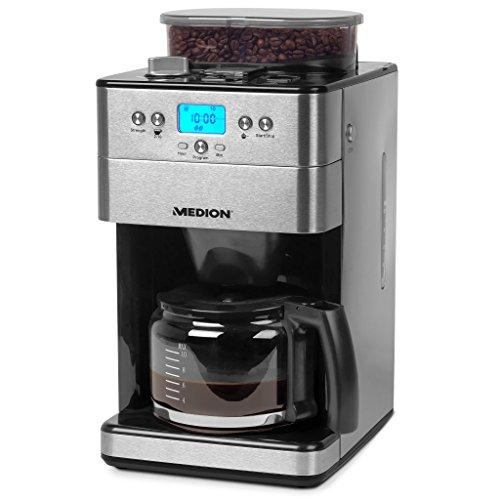 MEDION MD 16893 Cafetera con Molinillo, 1000 W, 1.25 litros, Acero Inoxidable, Plateado
