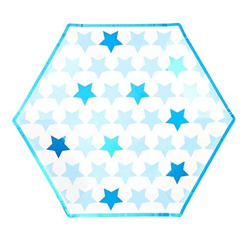Neviti Little Star Blue-Large Paper Plate-8 Pack Assiette en carton, 775479, bleu, 27 x 27 x 0.5