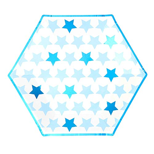 Neviti- Little Star Blue-Large Paper Plate-8 Pack Assiette en Carton, 775479, Bleu, 27 x 27 x 0.5