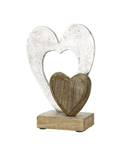GILDE Doppelherz Holz Silber Höhe 23 cm