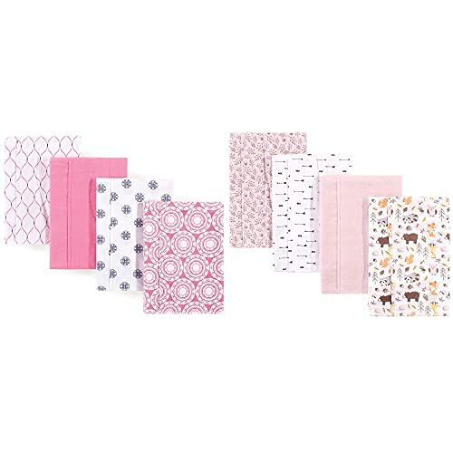 Hudson Baby Max 74% OFF Girl Cotton Directly managed store Flannel Pin Cloth Medallion 8-Pack Burp