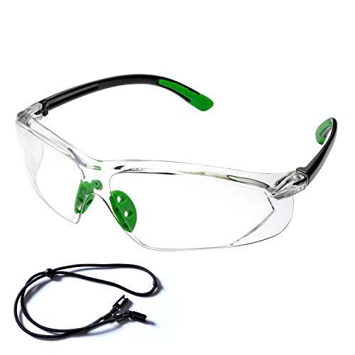 SAFEY EAR Gafas Protectoras Hombres Antiniebla Con Cinta Ajustable - Gafas de Seguridad con Lentes Antiarañazos SG003GN-ST Color Negro y Verde