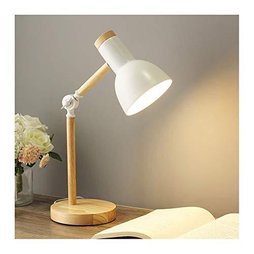 Lámparas de escritorio Lámpara de escritorio lámpara de mesa madera moderna para estudio oficina sala de estar, lámpara de lectura ajustable en ángulo, lámpara de noche de metal E27 lámpara de noche p