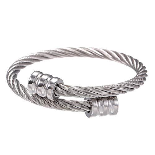 Pulsera de acero de titanio Pulseras de los hombres Tendencia retro de acero inoxidable bobinado de tres colores pulsera de pulsera cuadrada joyería