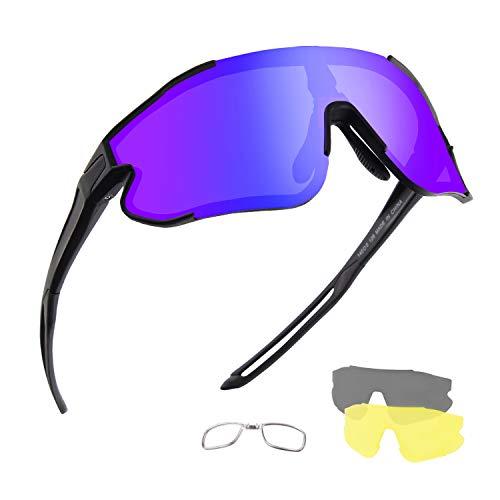 DUDUKING Gafas Ciclismo Gafas de Conducción de Medio Cuadro con 3 Lentes Intercambiables, Gafas de Protección UV para Montar Se Adapta al Correr Ciclismo,Deportes al Aire Libre