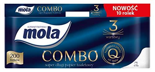10 Rollen Toilettenpapier Mola Combo 200 Blatt lang 3-lagig ab € 0,69 je Rolle