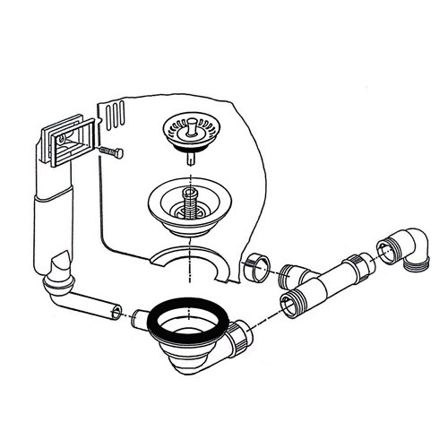 Ab- und Überlaufgarnitur für Franke PAMIRA ROX 610-41 Einbauspüle / Ersatzteil Spüle / Ablaufgarnitur