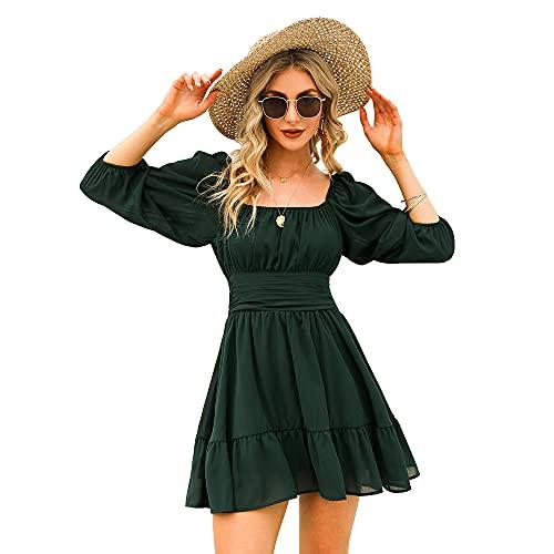 EXLURA Women's Lantern Sleeve Tie Back Dress Ruffled Off Shoulder A-Line Vintage Mini Dress Dark Green
