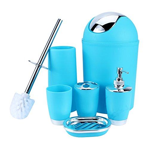 Yosoo 6-Stück Luxuriös Badezimmer Set (aus Plastik) Bad Accessoire Set Lotion-Flaschen, Zahnbürstenhalter, Zahn-Becher, Seifenschale, Toilet Bürste, Mülleimer (Blau)