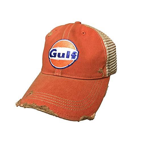 Gulf Distressed Vintage Adjustable Snapback Hat (Orange)