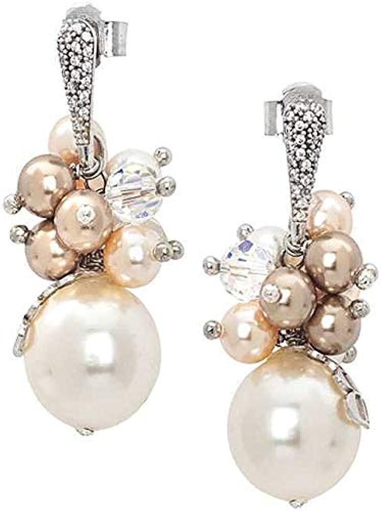 Boccadamo, orecchini per donna,in argento rodiato,zirconi e bouquet di perle swarovski ROR014P