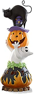 Lenox Halloween Trick or Treat Lighted Figurine Black Cat Ghost Cauldron Jack o Lantern