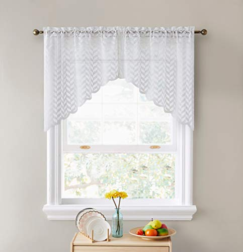 """HLC.ME Herringbone Semi Sheer Voile Kitchen Cafe Curtain Panels - Rod Pocket - Tiers, Swags & Valances for Small Windows & Bathroom - 30"""" Wide x 36"""" Inch Length (White Swags, Set of 2)"""