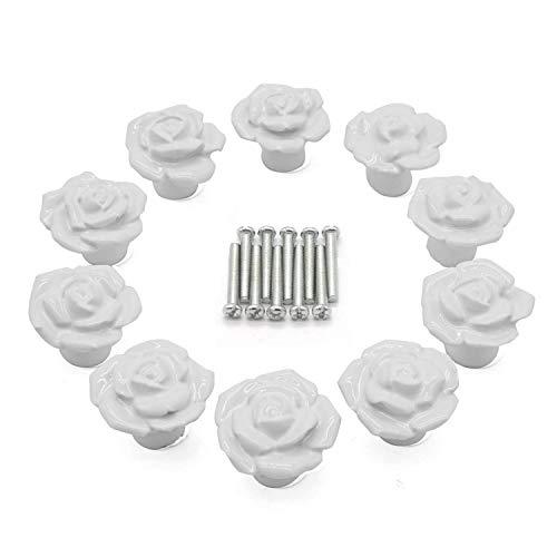 YUYIKES 10 PCS Ceramic Vintage Floral Rose Door Knobs Cabinet Cupboard Drawer Kitchen Pull Handles + Screw (White Rose)