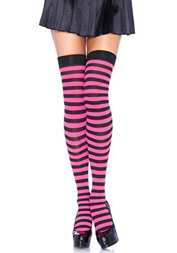 LEG AVENUE 6005 - Overknee Halterlose Strümpfe Mit Streifen, Einheitsgröße (EUR 36-40), schwarz/neon pink, Damen Karneval Kostüm...