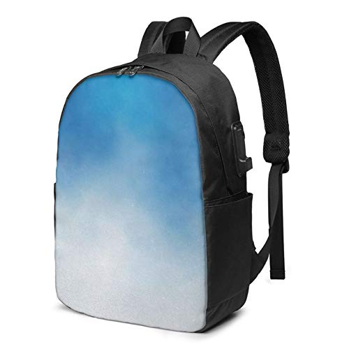 Laptop Backpack with USB Port Blue 664, Business Travel Bag, College School Computer Rucksack Bag for Men Women 17 Inch Laptop Notebook
