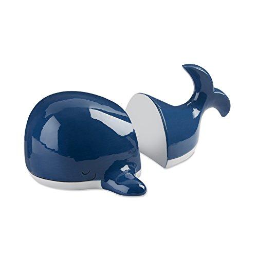 Baby Aspen Ceramic Whale Bookends | Cute Ocean Themed Kids Bedroom Décor