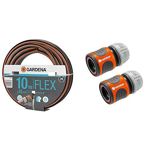 Gardena Comfort FLEX Schlauch 13 mm (1/2 Zoll), 10 m & Schlauchverbinder-Satz 13 mm (1/2 Zoll) und 15 mm (5/8 Zoll): Steckverbinder für den Schlauchanfang, schneller und einfacher Anschluss (18281-20)