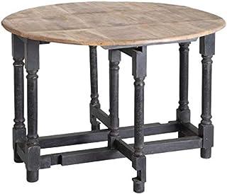 Tousmesmeubles Table de Repas Ronde Pliante Bois/Noir - TOUBA - L 110 x l 110 x H 76 - Neuf