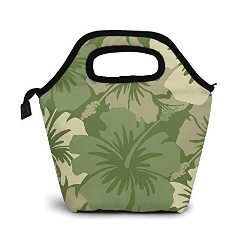 Hawaiian Floral Olive Green Original Lunch Box Insulated Lunch Bag - Tough & Spacious Adult Lunchbox to Seize Your Day