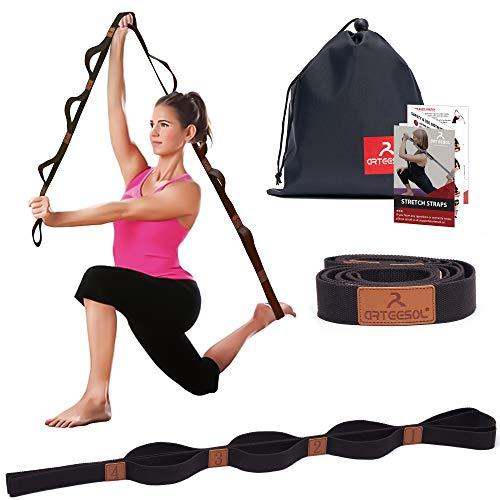 arteesol Correa de Estiramiento de Yoga - 200cm x 4cm - Stretch Strap Múltiples Lazos de Agarre Mayor Flexibilidad Adecuado para Fitness en Casa, Danza, Pilates, Terapia Física, Recuperación
