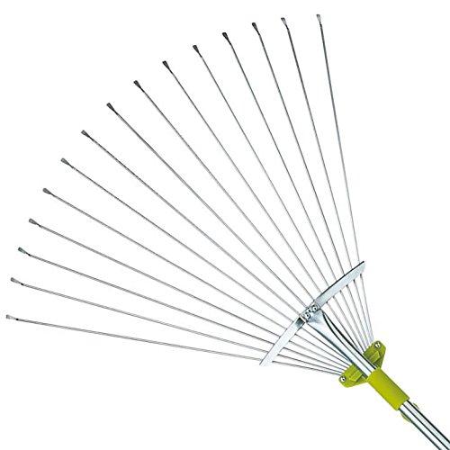 63 Inch Adjustable Garden Leaf Rake - Expanding Metal Rake - Adjustable Folding Head from 7 Inch to 22 Inch. Ideal Camp Rake