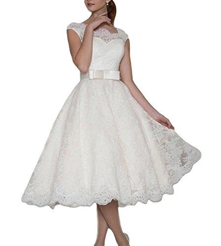 YASIOU Hochzeitskleid Brautkleid Elegant Damen Kurz A Linie Spitze Tüll Prinzessin Weiß Durchsichtig Tiefer Rücken Standesamt Hochzeitskleider