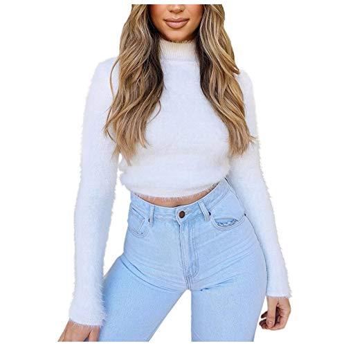 Okseas Damen Sweatshirt Pullover Langarm Damen Plüsch Sweatshirt Rundhals Pullover Langarmshirt Warm Casual Shirt Tops Einfarbig Langarm Sweatshirt Casual