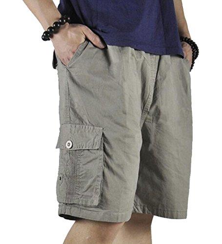 XinnanDe Men's Summer Lightweight Relaxed Fit Cargo Short Full Elastic Waist Twill Drawstring Khaki 40