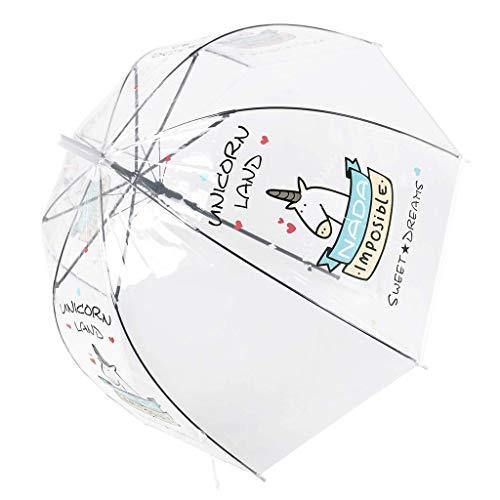 Paraguas Transparente, a Prueba de Viento y a Prueba de Lluvia, Forma de la bóveda de Moda con Unicornio patrón, Paraguas Largo, Blanco
