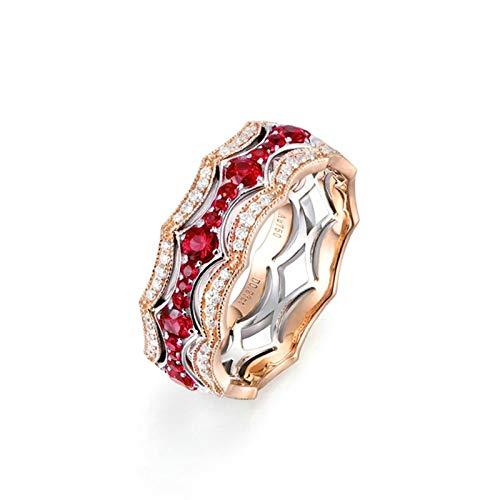AmDxD oro rosa de 18 quilates round-brilliant-shape Red White Ruby