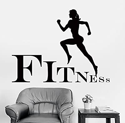 Wall Stickers Fitness Jogging Running Cross Fit Girl Woman Female Sport (z1422)