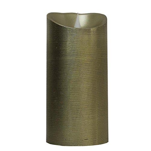 Vela decorativa LED dorada aroma vainilla presentación premium