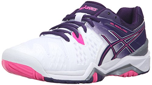 ASICS Women'S Gel-Resolution 6 Tennis Shoe, White/Parachute Purple/Hot...