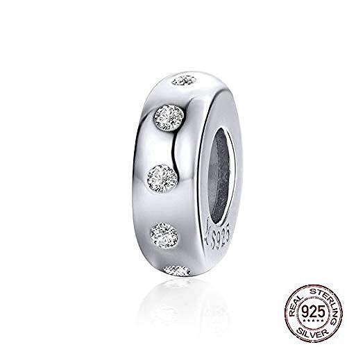 Zilveren Kralen Bedels,Stoppers Bedel Voor Armband 925 Sterling Zilver Minimalistische Kristal Bedel Met Siliconen Fit Merkarmband