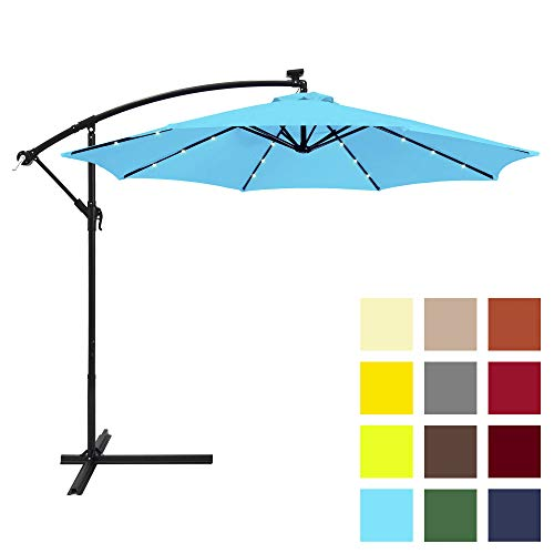 Best Choice Products 10ft Solar LED Offset Hanging Market Patio Umbrella w/Easy Tilt Adjustment, Polyester Shade, 8 Ribs for Backyard, Poolside - Light Blue