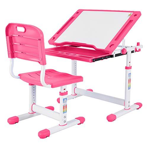 Desk and Chair Set, Height Adjustable Ergonomic Student Study Desk and Chair Set with Embedded Pull-Out Drawer, Adjustable Tilted Desktop, Best Gift for Kids (Pink)