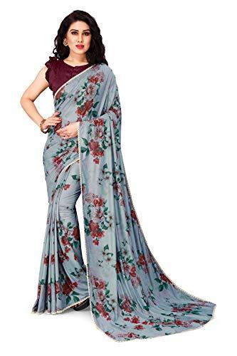 Mirchi Fashion Damen Blumen Gedruckt Lycra Sari mit Blusenteil (21039-Light Blue,...