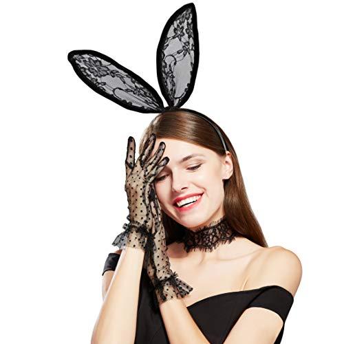 Coucoland Womens Bunny Kostuum Set Zwart Konijn Oor Kant Hoofdband Kant Choker Dot Handschoenen, Zwart