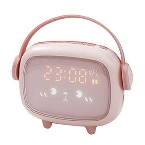 niumanery Kids Cute Digital Alarm Clock with Night Light Table Wake Up Clocks Home Decor Pink