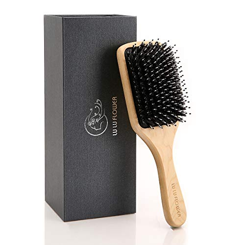 Hair Brush, Boar Bristle Hairbrush for Women and Men, Perfect Mixture of Boar Bristle and Nylon Pins, Adding Hair Shine, Softness & Health,Best for Thick,Curly,Dry or Damaged Hair,Reduce Frizz,Giftbox