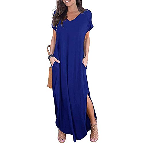 Newbestyle Damen Kleid Maxikleider Damen Freizeitkleider Sommerkleid Lang Damen Kurzarm Kleider mit Taschen (Blau, S)
