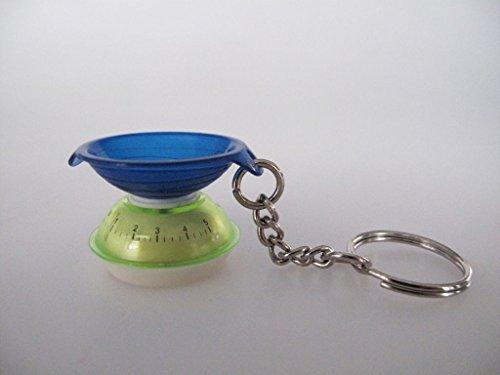 TUPPERWARE Schlüsselanhänger blau grün Waage Miniatur Anhänger