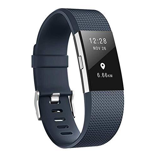 Cinturini di ricambio per Fitbit Charge 2, cinturino di ricambio per accessori morbidi, fermaglio di metallo sicuro Fitbit Charge 2 (5,5'-6,7') - Blu scuro