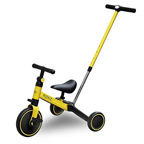 RiZKiZ 2in1 折たたみ三輪車 二輪車 大人用ハンドルバー付き 【イエロー】 2WAY 1歳から5歳まで 足蹴り ハンドル サドル 調整可能 空気入れ不要 安心 安全