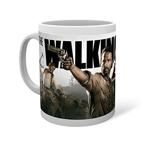 Walking Dead Movie Banner Tasse mit Rick Grimes Daryl Michonne Zombies Kaffeebecher mit Film Logo umlaufend bedruckt lizenziert Geschenk für Horror Fans Keramik 300ml spülmaschinengeeignet
